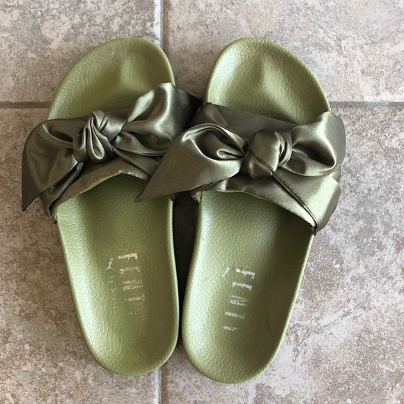 detailed look 9a027 bbb8f Fenty (Rihanna for Puma) Olive Bow Slides